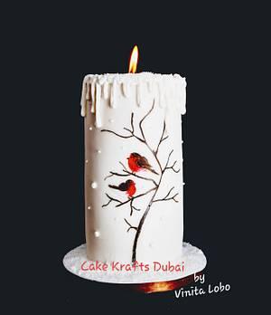 Handpaint Christmas Candle Cake - Cake by Vinita Lobo