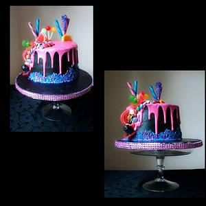 Birthday Celebration candy drip cake  - Cake by Jenn Szebeledy  ( Cakeartbyjenn_ )