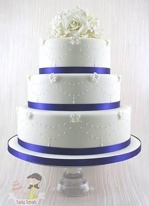 Classic Wedding Cake-Roses and Stephanotis 2 - Cake by Natasha Shomali