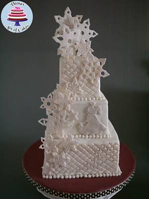 Snowflake Wedding Cake - Cake by Veenas Art of Cakes