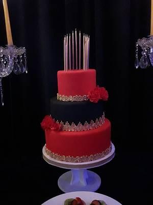 15 años en rojo y negro - Cake by fabian vezzali