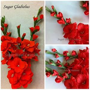 Gumpaste Gladiolus  - Cake by Anne Cutajar-Wagner