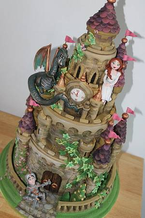 castle cake with added dragon, knight and princess - Cake by Zoe's Fancy Cakes