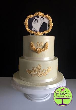 Golden Wedding Anniversary Cake - Cake by Monika's Creations