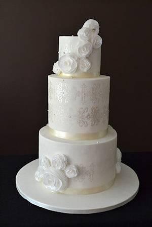 The Sugar Nursery's Wafer Paper Rose Wedding Cake - Cake by The Sugar Nursery - Cake Shop & Imaginarium