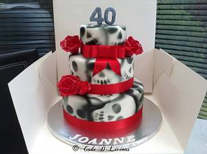 Skulls & Roses design 3 Tier 40th Birthday Cake - Cake by Sweet Lakes Cakes