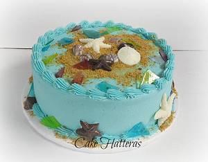 Sea Glass Cake - Cake by Donna Tokazowski- Cake Hatteras, Hatteras N.C.