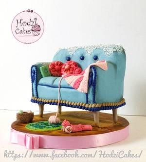 Vintage Sofa Cake 🌸💗 - Cake by Hend Taha-HODZI CAKES