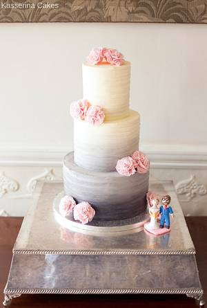 Grey ombre buttercream wedding cake with pink ruffled ribbon roses - Cake by Kasserina Cakes