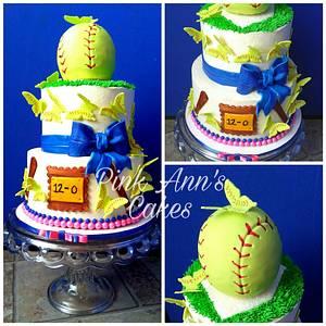 Girly softball cake - Cake by  Pink Ann's Cakes