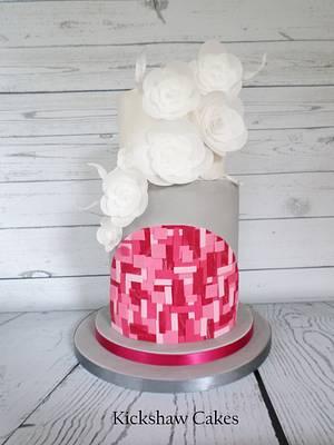 Pink, Grey and White Cake - Cake by Kickshaw Cakes