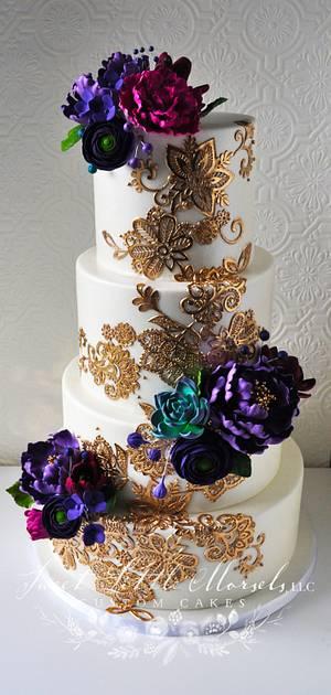 Gold Lace Wedding Cake - Cake by Stephanie
