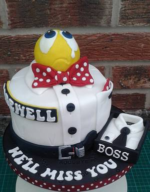 Sorry you're leaving - We'll miss you Boss. - Cake by Karen's Kakery