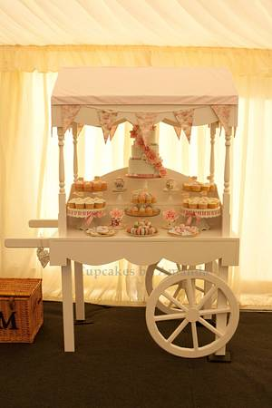Vintage Wedding Cart Dessert Table - Cake by Cupcakes by Amanda