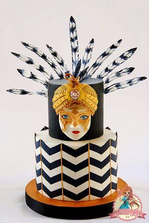 Venetian Mask In African Style - Cake by SweetLin