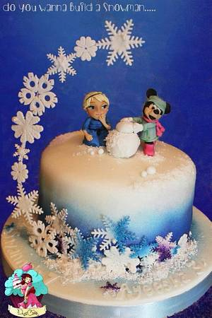 Elsa & Minnie build a snowman x  - Cake by DusiCake