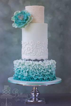 Ombre petal ruffles wedding cake - Cake by Bellaria Cake Design