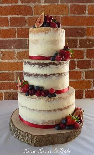Semi Naked Vegan Wedding Cake in Dorset - Cake by LucieLovesToBake