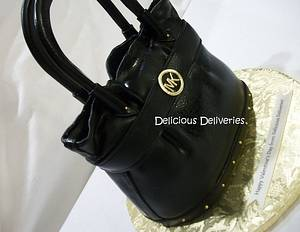 Michael Kors Black Leather Purse Cake - Cake by DeliciousDeliveries