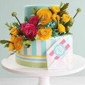 Bright Sugar Flowers and Stripes Birthday Cake  - Cake by Alex Narramore (The Mischief Maker)