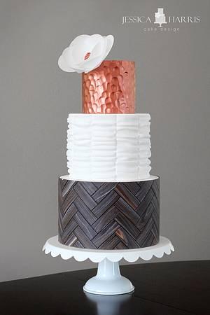 Herringbone Wood, Copper, Ruffle Cake - Cake by Jessica Harris