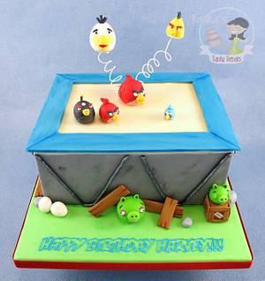 Angry Birds on a Trampoline Birthday Cake - Cake by Natasha Shomali