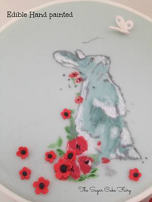 Painted Cake: Poppies & Rabbits - Cake by The Sugar Cake Fairy