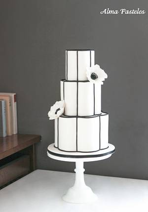 Black and white themed wedding cake - Cake by Alma Pasteles