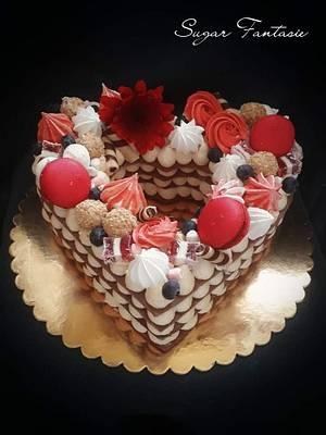 Romantic red tart cake - Cake by Ildikó Dudek