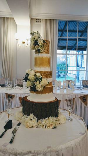 Gold Sequins Wedding Cake - Cake by Sugarism by Anne