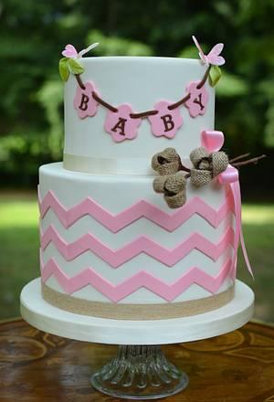 Burlap Baby Shower Cake - Cake by Elisabeth Palatiello