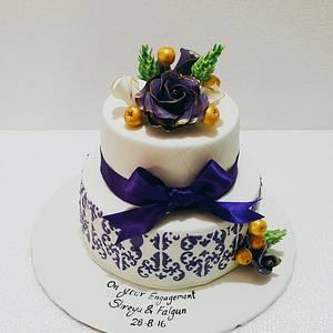 Royal Purple Engagement cake  - Cake by Urvi Zaveri