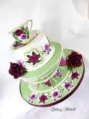 Free Hand Painted English High Tea Party cake with hand painted cup and saucer. - Cake by Gulnaz Mitchell