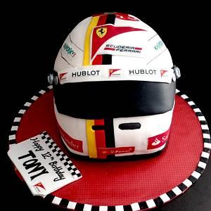 F1 Helmet for a Ferrari fan 🚘🚘 - Cake by CAKE RAGA