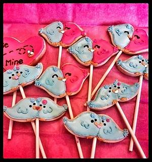 love birds cookie pops! - Cake by  Pink Ann's Cakes