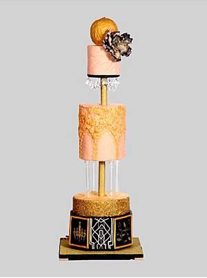 Peach gold blush wedding cake - Cake by Drop of sugar