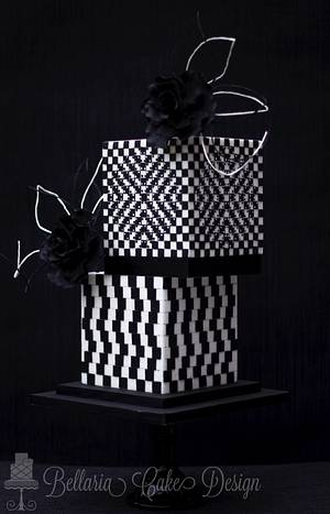 Black and white optical illusion - Cake by Bellaria Cake Design