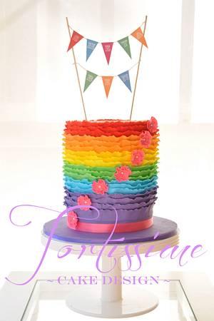 Rainbow Ruffle Cake - Cake by Tortissime Cake Design
