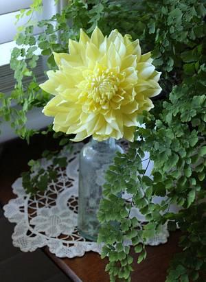 yellow gumpaste Dahlia - Cake by InspiredbyMichelle