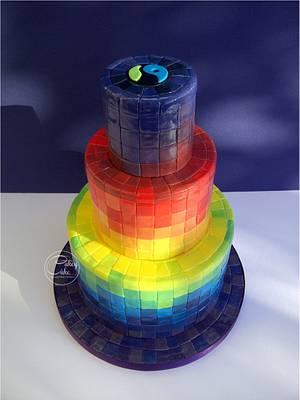 Rainbow Mosiac - Cake by CakeyCake
