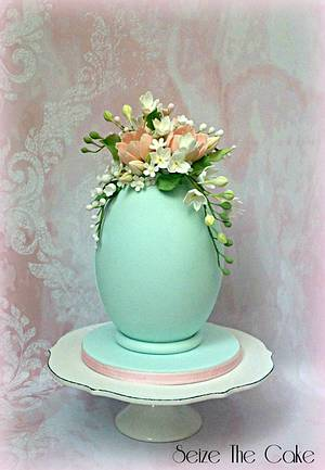 Easter Egg with sugar flowers  - Cake by Seize The Cake