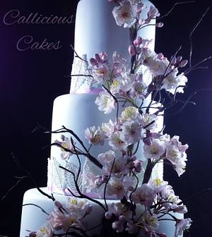 Spring Wedding. Cherry Blossoms - Cake by Calli Creations