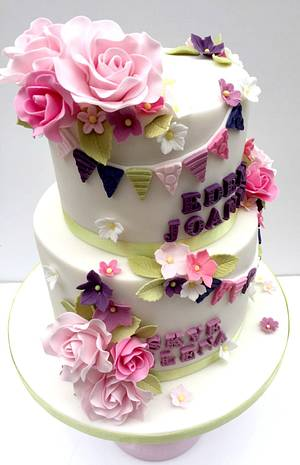 Floral Christening Cake for Two Sisters - Cake by The Rosehip Bakery