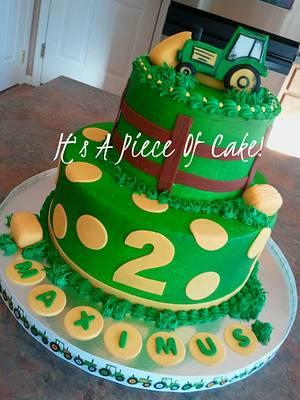 Buttercream Tractor Cake, Fondant Accents - Cake by Rebecca