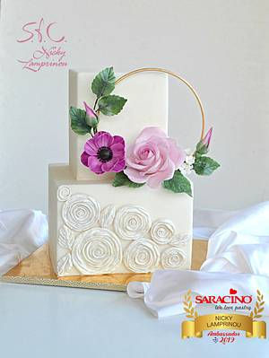Stylish square cake - Cake by Sugar  flowers Creations