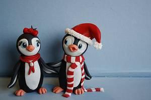 Fondant Penguins. - Cake by Sannas tårtor