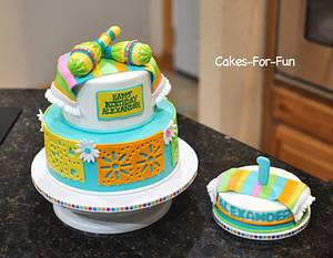 Papel Picado with Maracas and Smash Cake - Cake by Cakes For Fun