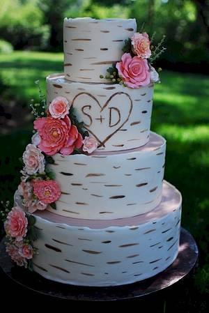 Birch Wood Grain Wedding Cake - Cake by Jenniffer White
