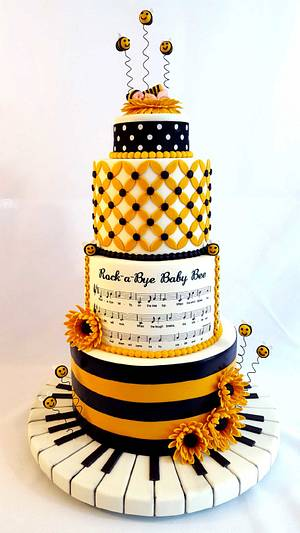 Bumble Bee & Musical Themed Baby Shower Cake - Cake by Custom Cakes by Ann Marie
