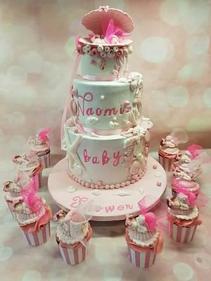 Baby shower shell cake and cupcakes - Cake by Rina Kazimierczak